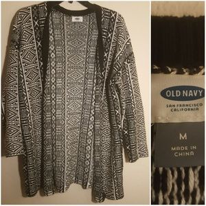 Old Navy black and white cardigan thick print